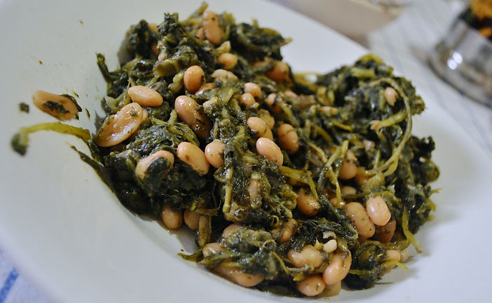 Wild Chicory and Cannellini Beans Recipe Photo