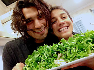 Leila and Anthony with the White Mushroom Arugula Salad Recipe