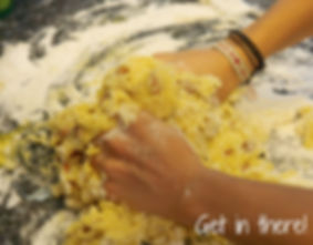 Mixing Ingredients with Hands for Tozzetti di Mandorle - Italian Almond Biscotti Recipe
