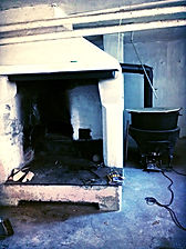 An old Norwegian clay oven in the basement of a farmhouse
