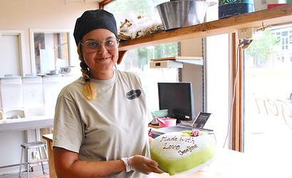 Josefine presents her Prinsesstårta Recipe at Berglunds Bageri, Sweden