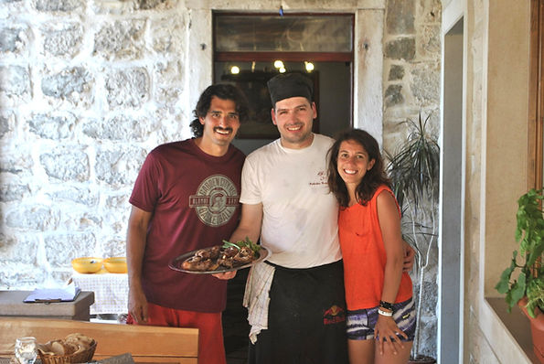 Chef Ivan and The Recipe Hunters: Leila Elamine and Anthony Morano at Konoba Kopačina with Lamb Made with Love in Croatia