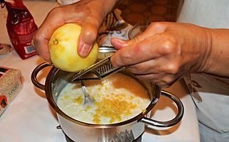 Grating the lemon rind into the ingredients, Anna's Italian Torta di Riso Recipe