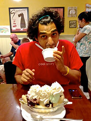 Anthony from The Recipe Hunters eating ice cream