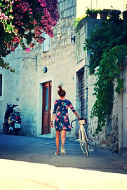 Matea and her White Designer European Bike, Sutivan, Brač, Croatia