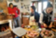 Anthony Morano, with Diren and Aysan making firin Kebab