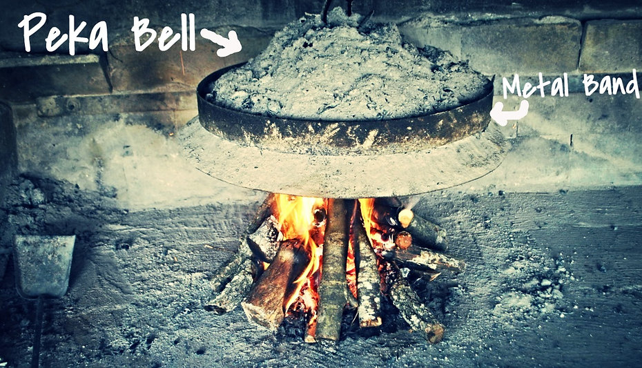The Peka Bell hanging over the fire to heat up, Peka Recipe, Croatian Traditional Recipes