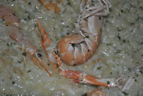 Cooking Rice for Ante's White Scampi Risotto Recipe, Konoba Lukin, Brač, Croatia