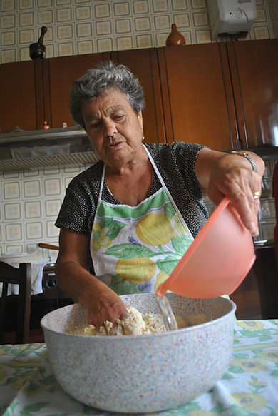 Marietta making the dough for Zeppole