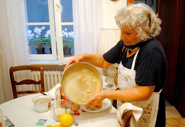 Anna preparing the pan, Anna's Italian Torta di Riso Recipe