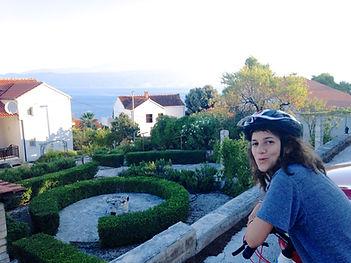 Leila on Bikeride through Postira, Brač, Croatia
