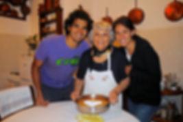 Leila, Anthony, and Anna Making the Torta di Riso, Reggio Emilia, Emilia Romagna, Italy