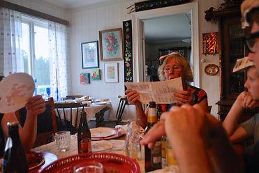 Marianne singing Snaps Songs at the Kräftskiva aka Crayfish Party in Kungsgården, Sweden