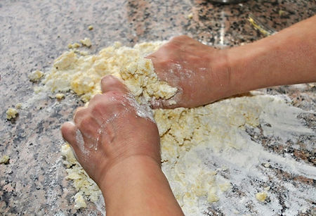 Mixing Gnocchi Dough with Hands - Mamma Angela's Homemade Gnocchi Recipe