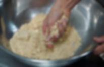 Mixing ingredients, Soumaya's Louzina, Lebanese cookie recipe