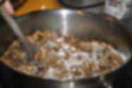 Mixing Sugar and Walnuts for Matea's Walnut Meringue Cake Recipe in Sutivan, Brač, Croatia