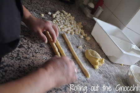 Rolling out the Pieces of Dough- Mamma Angela's Homemade Gnocchi Recipe