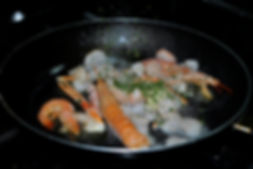 Frying Scampi and Shrimp for Ante's White Scampi Risotto Recipe, Konoba Lukin, Brač, Croatia