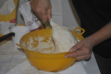 Stirring Ingredients, Croatian Rustic Bread Recipe, Split, Croatia