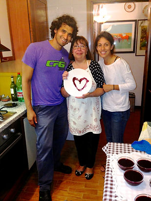 Nicoletta, Anthony and Leila Holding the Sugoli con Mosto D'Uva Recipe Heart aka Grape Must Pudding