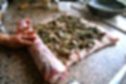 Starting to Roll the Pancetta - Porchetta Ripiena aka Stuffed Pork Recipe