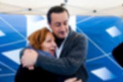 Kamel Mouzawak and Suzanne hugging, Souk el Tayeb