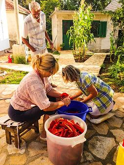 Ana and Marija, Preparing Bell Peppers for Ajvar, Imostki, Croatia