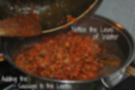 Adding the sausage to the lentils - Sausage and Lentils Recipe