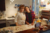 Leila and Carmela making the White Mushroom Arugula Salad Recipe