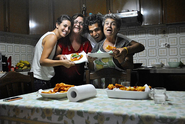 Marietta, Angela, and The Recipe Hunters after cooking Zeppole