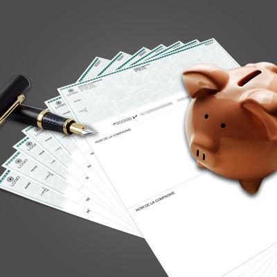 """Chèques 3 parties 8,5"""" x 11"""" personnalisables"""