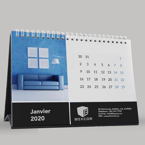 """Calendrier de bureau 6""""L x 6,25""""H Comprends 14 mois et une grille de l'année suivante (Décembre de l'année précédente, janvier à décembre de l'année en cour et janvier de l'année suivante)"""