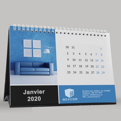 """Calendrier de bureau 5,5""""L x 5""""H Comprends 14 mois et une grille de l'année suivante (Décembre de l'année précédente, janvier à décembre de l'année en cour et janvier de l'année suivante)"""