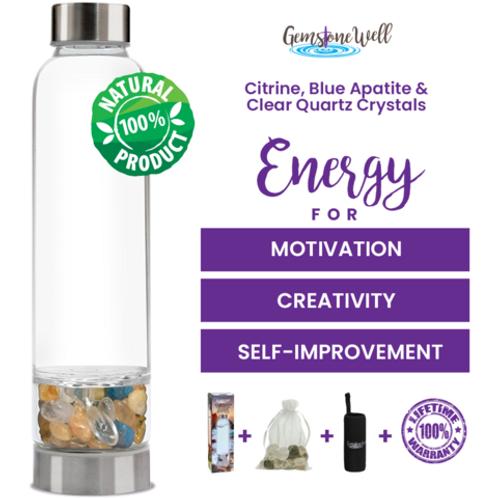CITRINE, BLUE APATITE & CLEAR QUARTZ CRYSTAL WATER BOTTLE