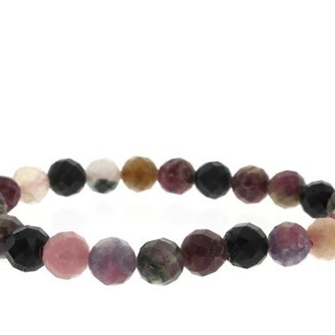 TOURMALINE MULTI COLOR FACETED ROUND BEADED BRACELET
