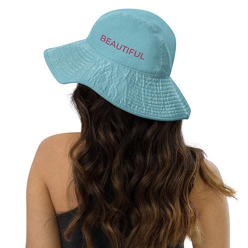 BEAUTIFUL EMBROIDERY Wide brim bucket hat