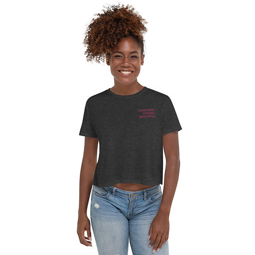 MOTIVATIONAL EMBROIDERED Crop Tee