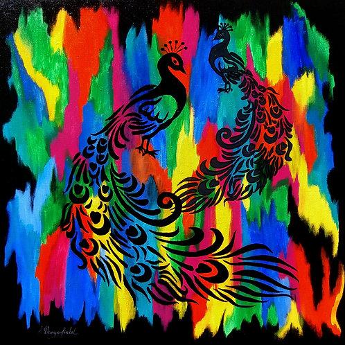 Peacocks-Noir Et Gris