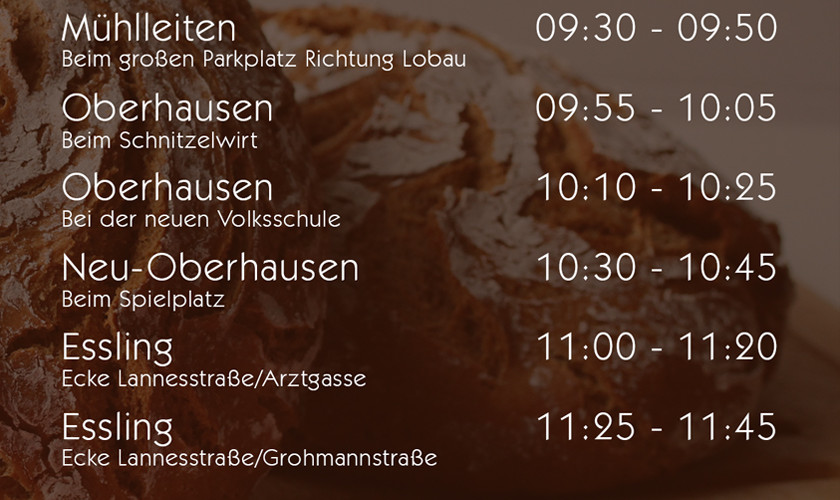 Die Tourstopps Schönau bis Essling