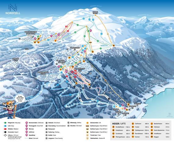 Kart over skiheisene på Norefjell