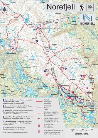 Kart over Norefjell