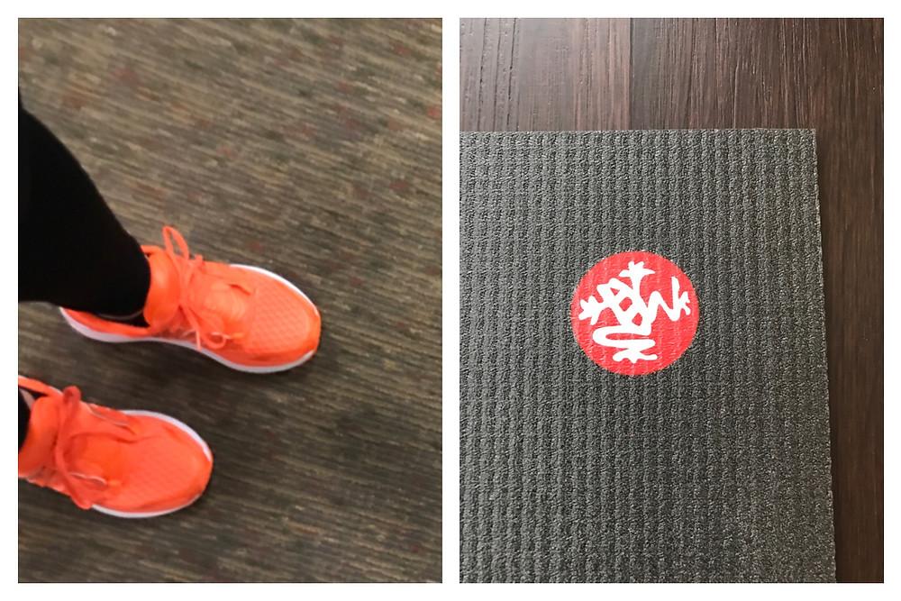 Orange Saucony Sneakers, Black Manduka mat