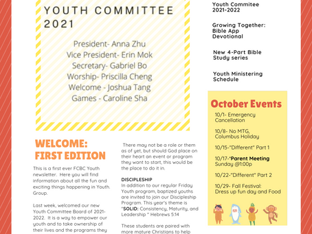 Youth Group October Newsletter