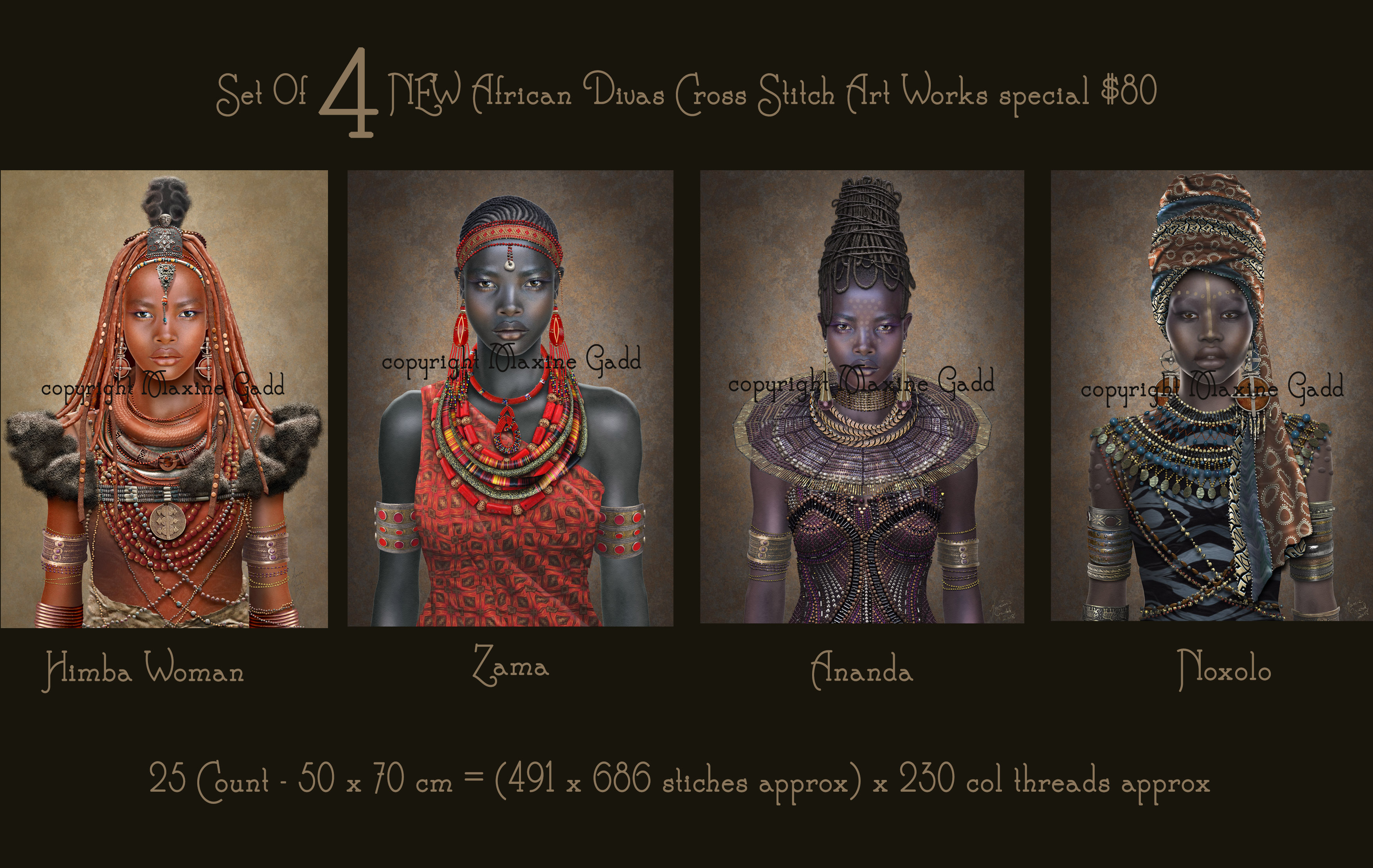 Set of 4 African Divas discounted