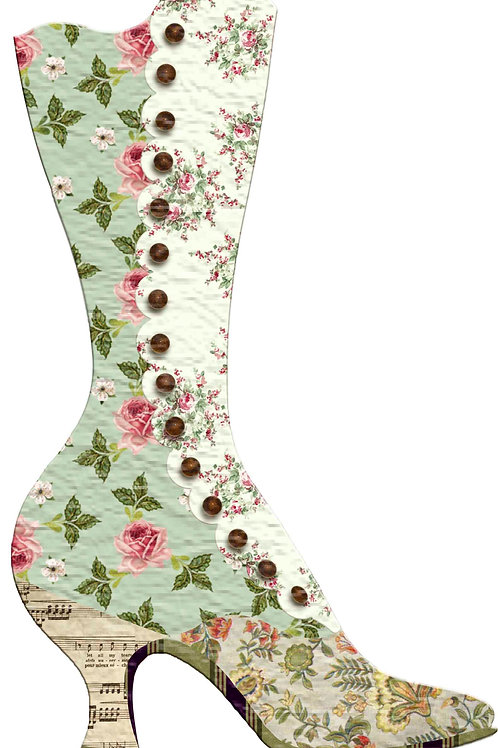 Floral Victorian Boot Christmas Stocking