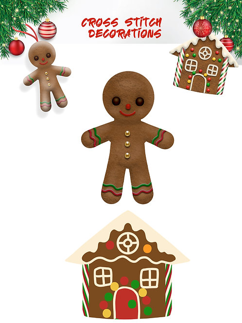 Ginger Bread Man & House Christmas tree decorations