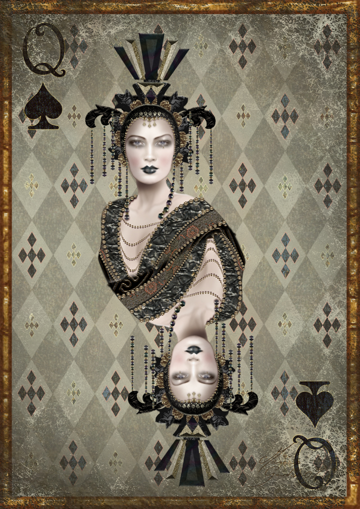 queen spades mirrored