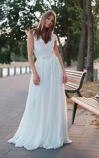 Soft chiffon Wedding Skirt, A-line Brdal  Skirt