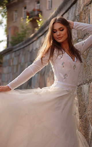 """Long sleeves dress """"Colibri"""", decorated with birds lace, flowers, beaded"""