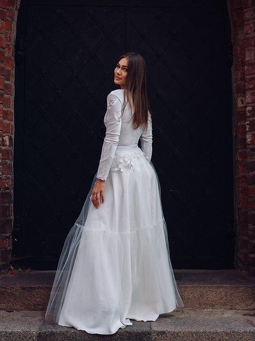 Bridal skirt, Wedding skirt, Tulle skirt, A-line skirt. Ivory, Flowy skirt